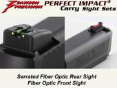Dawson Precision S&W M&P .22 Compact Suppressor Height Fixed Carry Sight Set - Fiber Optic Rear & Fiber Optic Front