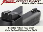Dawson Precision S&W M&P .22 Compact Fixed Carry Sight Set - Tritium Rear & Tritium Front
