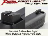 Dawson Precision S&W M&P .22 Compact Suppressor Height Fixed Carry Sight Set - Tritium Rear & Tritium Front