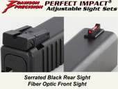 Dawson Precision Glock* Adjustable Sight Set - Black Rear & Fiber Optic Front