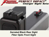 Dawson Precision Glock 17L/24 Fixed Charger Sight Set - Black Rear & Fiber Optic Front