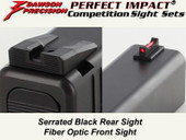 Dawson Precision Glock 17L/24 Fixed Competition Sight Set - Black Rear & Fiber Optic Front