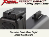 Dawson Precision Glock 17L/24 Fixed Carry Sight Set - Black Rear & Black Front