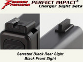 Dawson Precision Glock 17L/24 Fixed Charger Sight Set - Black Rear & Black Front
