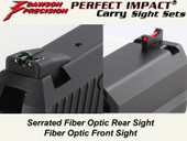 Dawson Precision HK USP Compact Fixed Carry Sight Set - Fiber Optic Rear & Fiber Optic Front