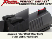 Dawson Precision CZ P09 Fixed Competition Sight Set - Black Rear & Fiber Optic Front