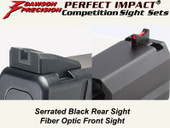 Dawson Precision HK USP Fixed Competition Sight Set - Black Rear & Fiber Optic Front