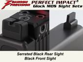 Dawson Precision Glock MOS Fixed Co-Witness Sight Set - Black Rear & Black Front(For C-More RTS/STS and similar scope bases)