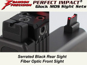 Dawson Precision Glock MOS Fixed Co-Witness Sight Set - Black Rear & Fiber Optic Front(For C-More RTS/STS and similar scope bases)