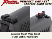 Dawson Precision Sig P320 Compact Charger Fixed Sight Set - Black Rear & Fiber Optic Front