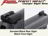 Dawson Precision Sig Dark Elite Charger Fixed Sight Set - Black Rear & Black Front