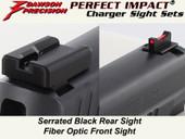 Dawson Precision Sig Dark Elite Charger Fixed Sight Set - Black Rear & Fiber Optic Front