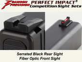 """NEW"" Dawson Precision Glock Gen5 G17/G19 Competition Fixed Sight Set - Black Rear & Fiber Optic Front"