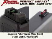Dawson Precision Glock Gen5 G34 MOS Fixed Non Co-Witness Sight Set - Fiber Optic Rear & Fiber Optic Front
