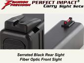 """NEW"" Dawson Precision Glock Gen5 G17/G19 CarryFixed Sight Set - Black Rear & Fiber Optic Front"
