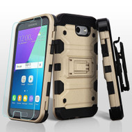 Military Grade Storm Tank Case + Holster + Tempered Glass for Samsung Galaxy J3 Emerge / J3 Prime / Amp Prime 2 - Gold