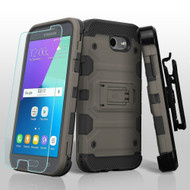 Storm Tank Holster Case + Tempered Glass for Samsung Galaxy J3 (2017) / J3 Emerge / J3 Prime / Amp Prime 2 - Grey