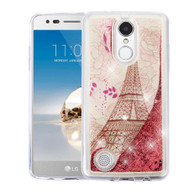 Quicksand Glitter Transparent Case for LG Aristo / Fortune / K8 2017 / Phoenix 3 - Eiffel Tower