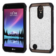 Tough Hybrid Case with Glitter Backing for LG K20 Plus / K20 V / K10 (2017) / Harmony - Silver