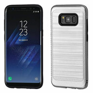 Brushed Multi-Layer Hybrid Armor Case for Samsung Galaxy S8 Plus - Silver