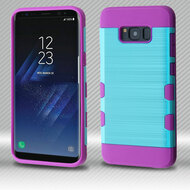 Military Grade Certified TUFF Trooper Dual Layer Hybrid Armor Case for Samsung Galaxy S8 - Baby Blue Purple