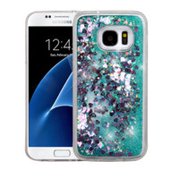 Quicksand Glitter Transparent Case for Samsung Galaxy S7 - Teal Green