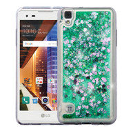 Quicksand Glitter Transparent Case for LG Tribute HD / X Style - Teal Green