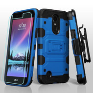 Military Grade Storm Tank Hybrid Case + Holster + Screen Protector for LG K20 Plus / K20 V / K10 (2017) / Harmony - Blue