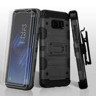 Military Grade Certified Storm Tank Hybrid Case with Holster and Screen Protector for Samsung Galaxy S8 - Black