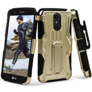 *SALE* Heavy Duty Dual Layer Hybrid Armor Case with Holster for LG Stylo 3 / Stylo 3 Plus - Gold