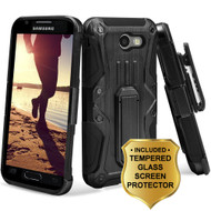 HD Holster Case + Tempered Glass for Samsung Galaxy J3 (2017) / J3 Emerge / J3 Prime / Amp Prime 2 / Sol 2 - Black