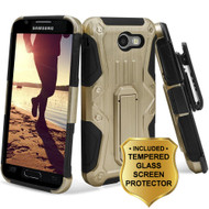 *SALE* HD Holster Case + Tempered Glass for Samsung Galaxy J3 (2017) / J3 Emerge / J3 Prime / Amp Prime 2 / Sol 2 - Gold