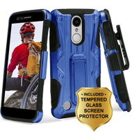 *SALE* Hybrid Case + Holster + Tempered Glass Screen Protector for LG Aristo / Fortune / K8 (2017) / Phoenix 3 - Blue