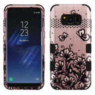 Military Grade Certified TUFF Image Hybrid Armor Case for Samsung Galaxy S8 Plus - Lace Flowers Rose Gold