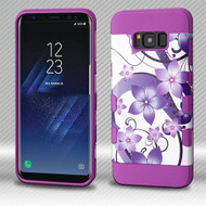 Military Grade Certified TUFF Trooper Dual Layer Hybrid Armor Case for Samsung Galaxy S8 Plus - Purple Hibiscus Flower