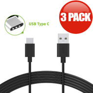 USB 3.1 Type-C (USB-C) to Type-A (USB-A) Charge and Sync Cable - 3 Pack Black