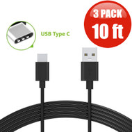 10 ft. USB 3.1 Type-C (USB-C) to Type-A (USB-A) Charge and Sync Cable - 3 Pack Black
