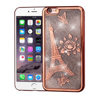 Electroplating Quicksand Glitter Transparent Case for iPhone 6 Plus / 6S Plus - Eiffel Tower Rose Gold
