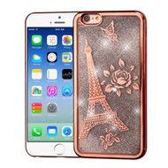 Electroplating Quicksand Glitter Transparent Case for iPhone 6 / 6S - Eiffel Tower Rose Gold