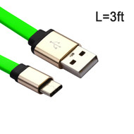 Type-C Charge and Sync Tangle-Free Flat USB Cable - Green