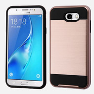 Brushed Hybrid Armor Case for Samsung Galaxy J7 (2017) / J7 V / J7 Perx - Rose Gold