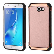 Electroplated Tough Hybrid Case with Leather Backing for Samsung Galaxy J7 (2017) / J7 V / J7 Perx - Rose Gold