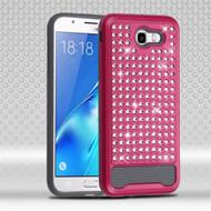 Luxury Bling Diamond Hybrid Case for Samsung Galaxy J7 (2017) / J7 V / J7 Perx - Hot Pink