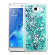 Quicksand Glitter Transparent Case for Samsung Galaxy J7 (2017) / J7 V / J7 Perx - Teal Green