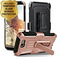 *SALE* Hybrid Armor Case + Holster + Tempered Glass Protector for Samsung Galaxy J7 (2017) / J7 V / J7 Perx - Rose Gold