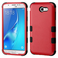 Military Grade Certified TUFF Hybrid Armor Case for Samsung Galaxy J7 (2017) / J7 V / J7 Perx - Red