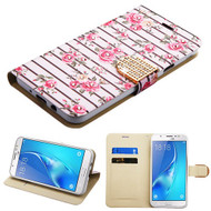 Luxury Bling Portfolio Leather Wallet Case for Samsung Galaxy J7 (2017) / J7 V / J7 Perx - Pink Fresh Roses