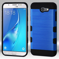 Military Grade Certified TUFF Trooper Dual Layer Hybrid Case for Samsung Galaxy J7 (2017) / J7 V / J7 Perx - Blue