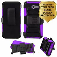 Advanced Hybrid Case + Holster + Tempered Glass Screen Protector for Samsung Galaxy J7 (2017) / J7 V / J7 Perx - Purple