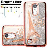 Electroplating Quicksand Glitter Case for LG Aristo / Fortune / K8 (2017) / Phoenix 3 - Eiffel Tower Rose Gold